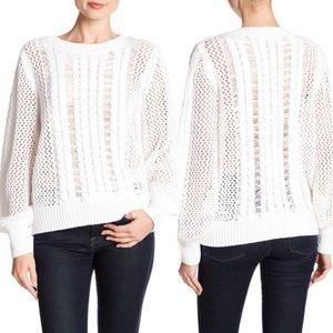 New 360 Cashmere White Porter Linen Sweater size S